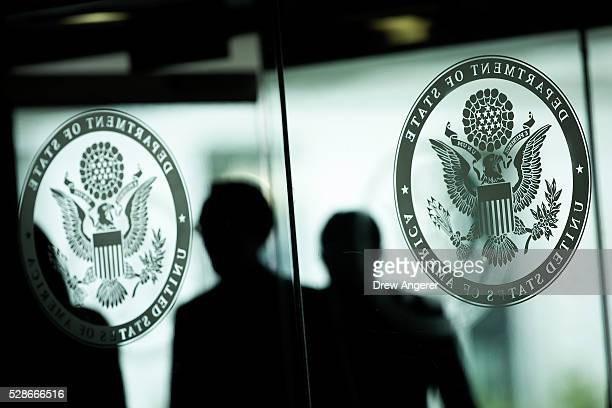 People arrive at the State Department before the American Foreign Service Association Memorial Plaque Ceremony for Steven Farley at the US State...