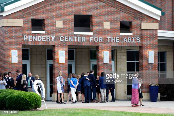 People arrive at Wyoming High School for the funeral of Otto Warmbier June 22 2017 in Wyoming Ohio Warmbier the 22yearold college student who was...