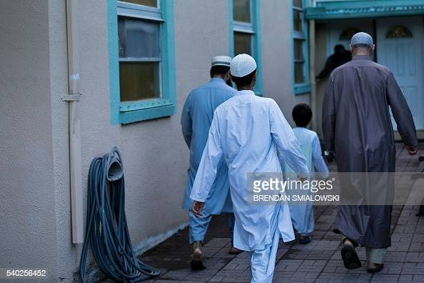 People arrive for prayers at the Islamic Center of Fort Pierce where Pulse nightclub shooter Omar Mateen had worshiped on June 14 2016 in Fort Pierce...