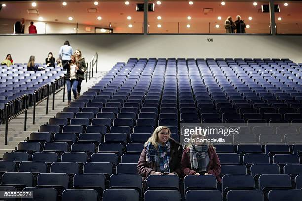 People arrive hours early to attend a campaign rally with Republican presidential candidate Donald Trump at the Vines Center on the campus of Liberty...