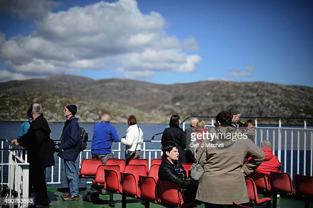 People arrive into Harris on a ferry from Uig on May 12 2014 in Stornoway ScotlandA recent study has shown that tourism to Harris and Lewis has grown...