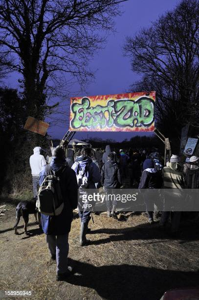 People arrive to attend a music festival organized by opponents against a project of international airport on January 4 2013 in NotreDamedesLandes...