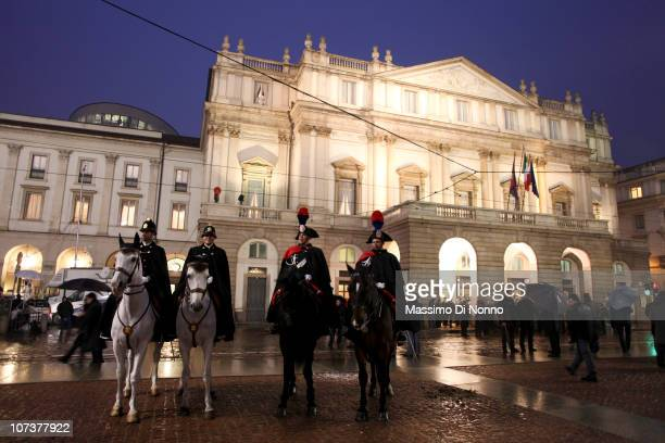 People arrive to the Teatro Alla Scala 2010 / 2011 season opening on December 7 2010 in Milan Italy The world renowned opera house was inaugurated in...