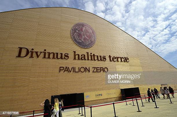 People arrive to visit the pavilion Zero of the UN at the Universal Exposition EXPO2015 in Milan on May 2 2015 The opening of EXPO2O15 was marred on...