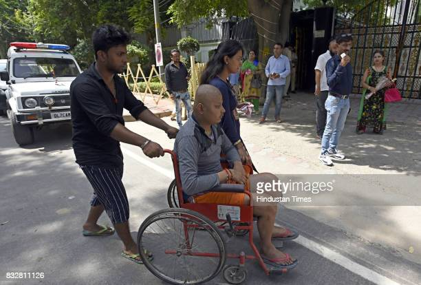 People arrive to wish Delhi Chief Minister Arvind Kejriwal on his birthday at his government residence on August 16 2017 in New Delhi India AAP Party...