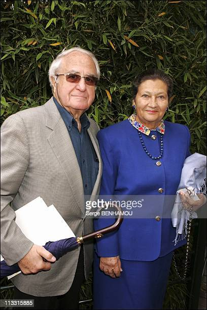 People At 2005 Roland Garros Tennis Tournament On June 5Th 2005 In Paris France Here Simone Veil And Her Husband