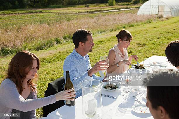 People at a dinner table in field