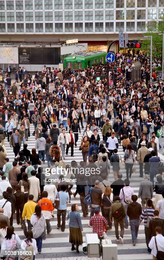 People at busy Shibuya Crossing. : Stock Photo
