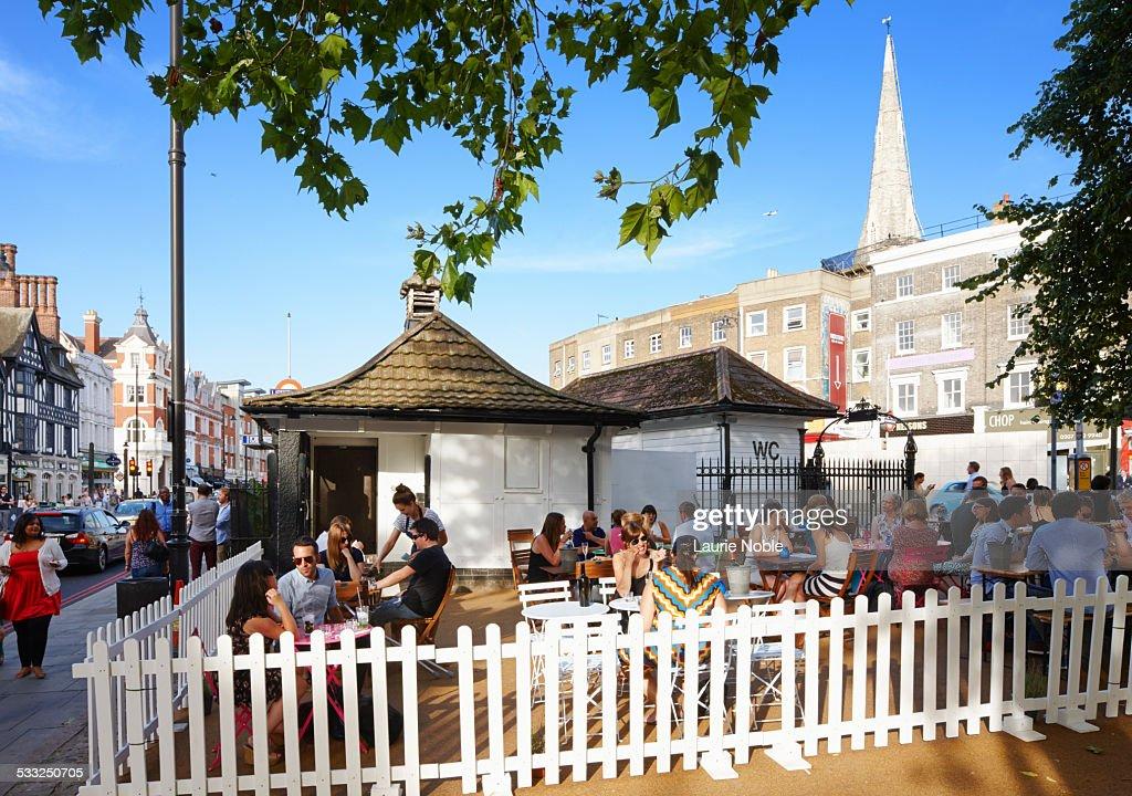 People at café, Clapham Common, Clapham, London