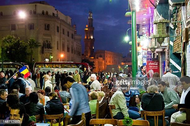 People at cafes at Khan al-Khalili (Great Bazaar).