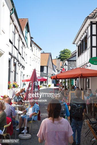 People at cafes in Essen Werden : Stock Photo