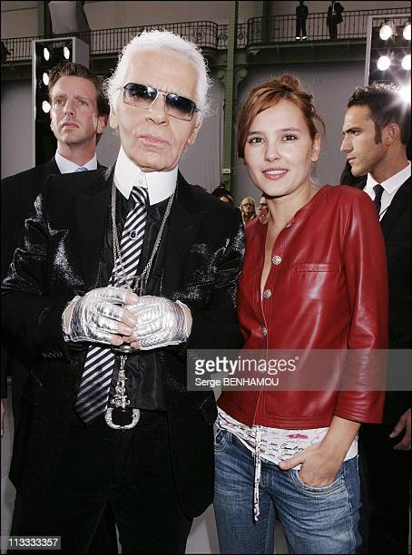 People At Chanel Ready To Wear SpringSummer 2006 Fashion Show On October 7Th 2005 In Paris France Here Karl Lagerfeld And Virginie Ledoyen