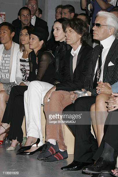 People At Dior Spring Summer 2006 Menswear Fashion Show On July 5Th 2005 In Paris France Here L'Wren Scott Mick Jagger Karl Lagerfeld