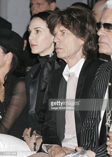 People At Dior Spring Summer 2006 Menswear Fashion Show On July 5Th 2005 In Paris France Here L'Wren Scott And Mick Jaggeer