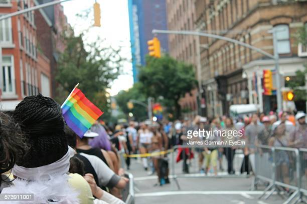 People At Gay Parade On City Street