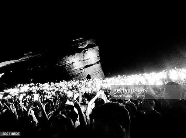 People At Red Rocks Amphitheatre During Night
