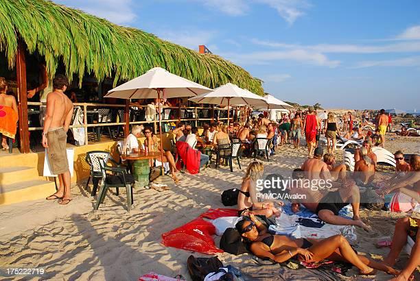 People at Sa Trincha bar Las Salinas beach Ibiza