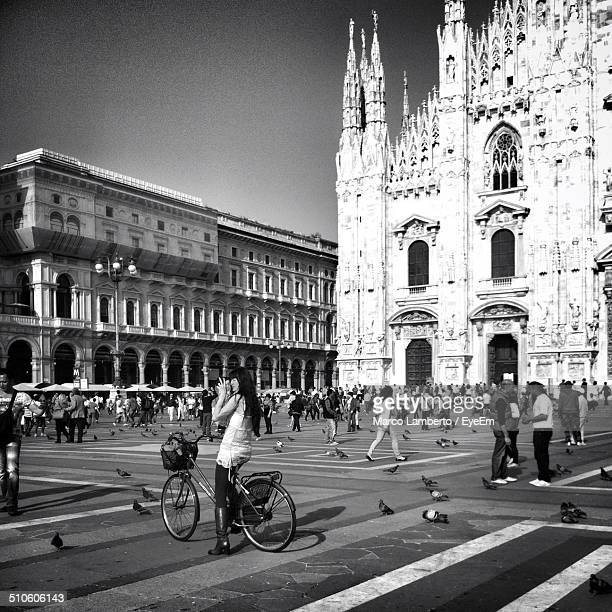 People at square outside Milan cathedral