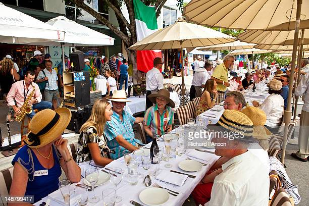 People at tables on Hastings Street for Noosa Jazz Festival's Long Lunch.