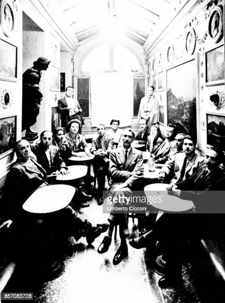 People at the cafe Greco in Rome in 1947