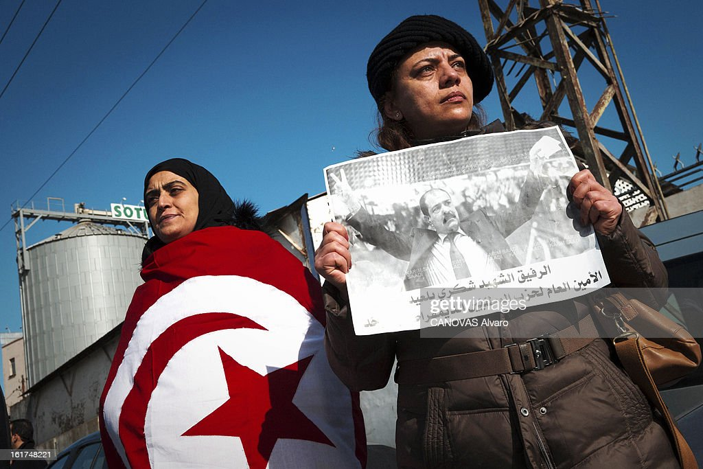 People at the funeral of Chokri Belaid,political opponent to the Tunisian government on February 8, 2013 in in Tunis,Tunisia.