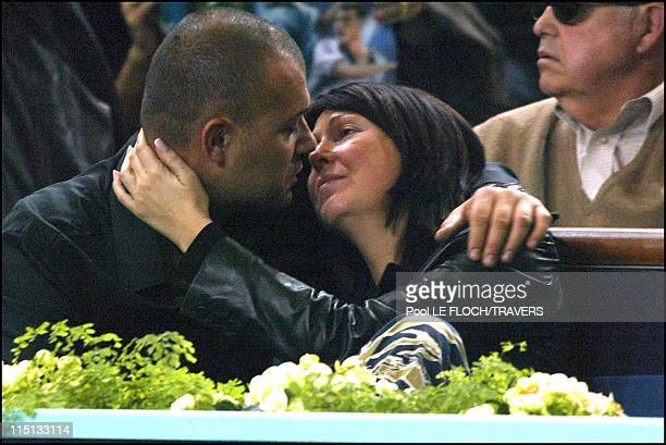 People at the Paribas tennis master men final in Paris France on November 03 2002 Evelyne Thomas and friend Christophe