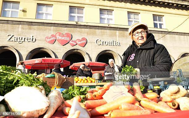 People at traditional Dolac Market in the city center of Zagreb Croatia on 31 December 2016 hoto