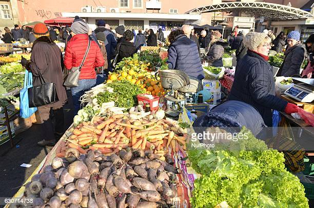People at traditional Dolac Market in the city center of Zagreb Croatia on 31 December 2016
