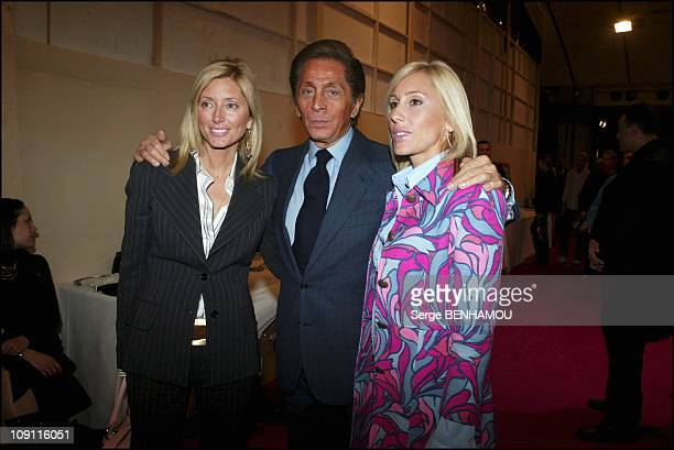 People At Valentino FallWinter 20042005 ReadyToWear Fashion Show On March 7 2004 In Paris France Designer Valentino With Princesse Marie Chantal Of...