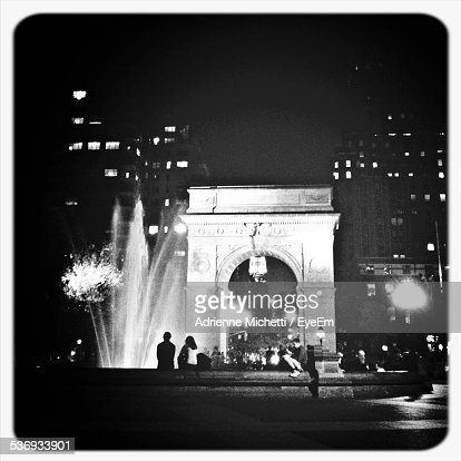 People At Washington Square Arch During Night