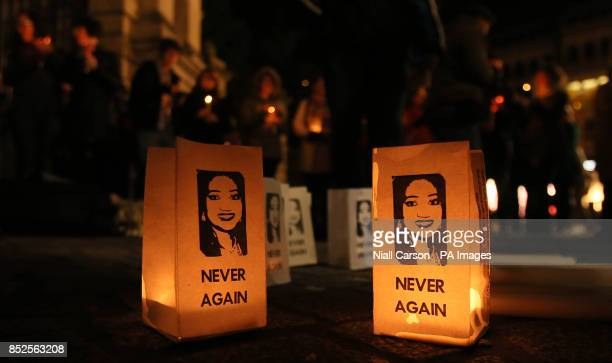 People attend a Candlelit vigil at St Stephens green in Dublin to mark one year since the death of Savita Halappanavar