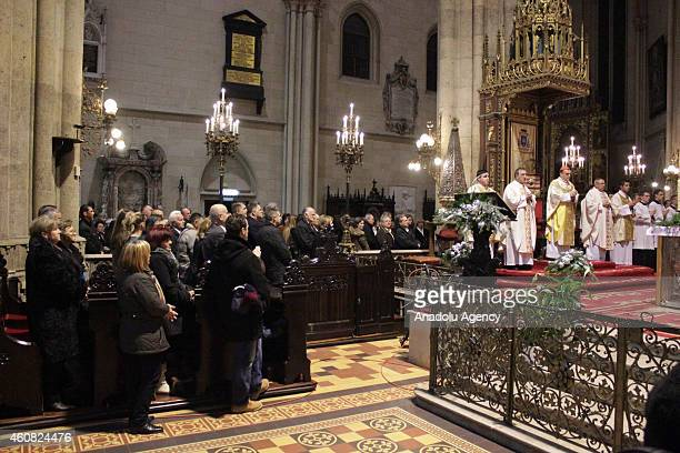 People attend a Christmas night mass held to celebrate birth of Jesus Christ at the Zagreb Cathedral in Zagreb Croatia on December 24 2014