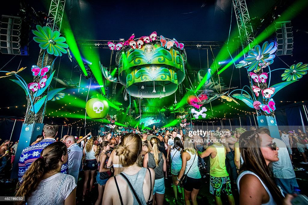 People attend a concert on the last day of the 10th edition of the Belgian Tomorrowland electro music festival on July 27, 2014, in Boom. AFP PHOTO / BELGA / JONAS ROOSENS ** Belgium Out **