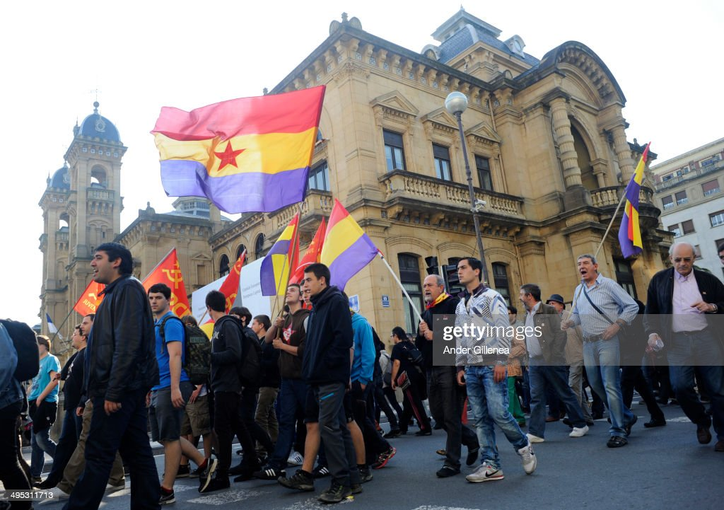 People attend a demonstration after King Juan Carlos abdicated the Spanish thrown on June 2 2014 in San Sebastian Spain King Juan Carlos of Spain...