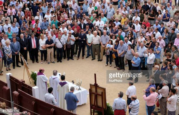 People attend a funeral mass for Spanish bullfighter Ivan Fandiño who died after being gored by a bull on last June 17 2017 at 'Las Ventas' bullring...