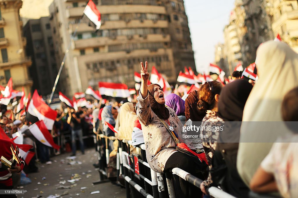 People attend a large rally in Tahrir Square against ousted Egyptian President Mohamed Morsi on July 7 2013 in Cairo Egypt Egypt continues to be in a...