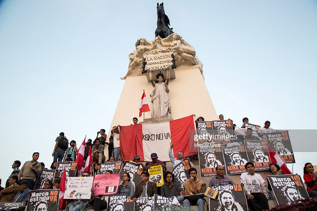 People attend a march on the streets of Lima's downtown to protest against Presidential Candidate Keiko Fujimori on May 31, 2016 in Lima, Peru. Fujimori will be competing for Peru's Presidency on the second round of the electoral voting next June 5th.