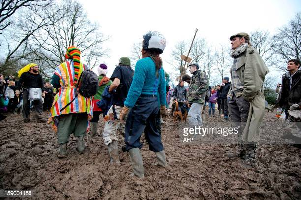 People attend a music festival organized by opponents against a project of international airport on January 5 2013 in NotreDamedesLandes western...