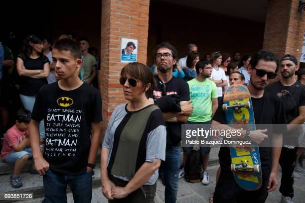 People attend a vigil in tribute to Ingnacio Echavarria a victim of the London terror attack outside of Las Rozas City Council on June 8 2017 in Las...