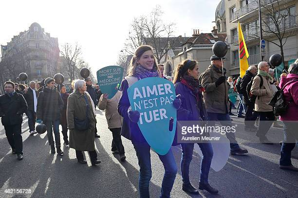 People attend an antiabortion and euthanasia demonstration on January 25 2015 in Paris France The demonstration was held by La Marche Pour La Vie...