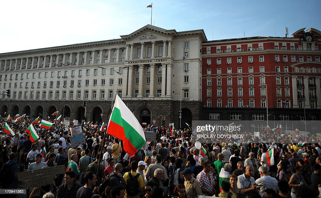 People attend an anti-government protest on June 20, 2013 in front of the government's headquarters in the center of Sofia. Bulgaria's president urged political leaders on June 20 to heed the demands of thousands of protestors who have rallied for the past six days against the political establishment in the EU's poorest country. Between 7,000 and 10,000 protestors have rallied in Sofia every evening since last Friday, just four months after demonstrations prompted the resignation of the last government and three weeks into a new administration.