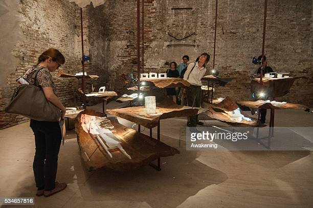 People attend at the Chile Pavillion of the 15th Architecture Venice Biennale on May 27 2016 in Venice Italy The 15th International Architecture...