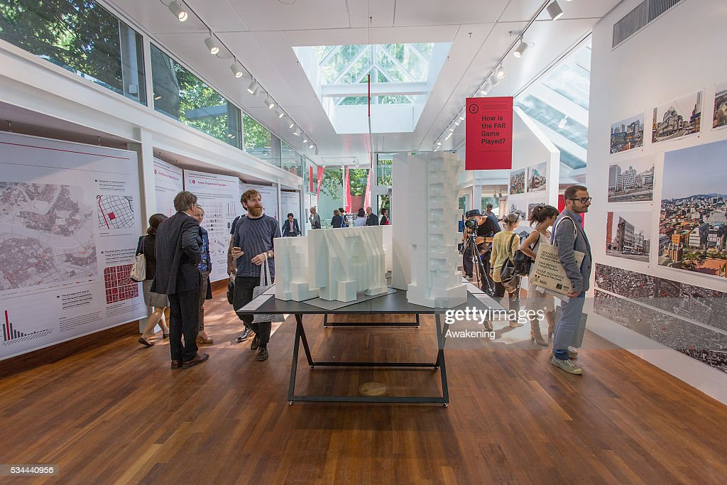 People attend at the Korea Pavillion of the 15th Architecture Venice Biennale, on May 26, 2016 in Venice, Italy. The 15th International Architecture Exhibition of La Biennale di Venezia will be open to the public from May 28 to November 27 in Venice, Italy.