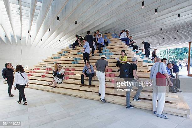People attend at the Nordic Countries Pavillion of the 15th Architecture Venice Biennale on May 26 2016 in Venice Italy The 15th International...