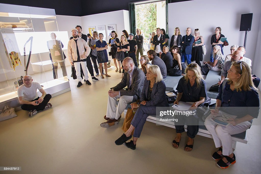 People attend at the opening of the UK Pavillion at the Venice Biennale on May 26, 2016 in Venice, Italy. The 15th International Architecture Exhibition of La Biennale di Venezia will be open to the public from May 28 to November 27 in Venice, Italy.