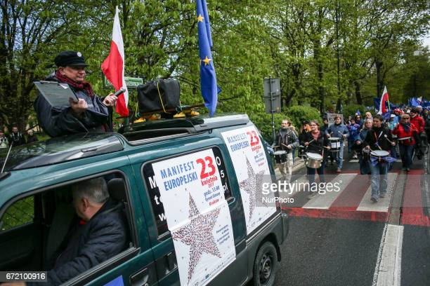 People attend European Manifest demonstration in Krakow Poland on 23 April 2017 The proEU and antigovernment rally was organized by KOD The Committee...