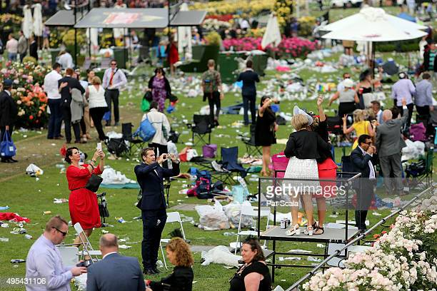 People attend the 2015 Melbourne Cup Day at Flemington Racecourse on November 3 2015 in Melbourne Australia