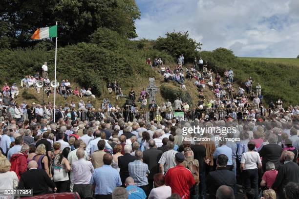 People attend the annual Beal na mBlath commemoration in Skibbereen Cork where Free State leader Micheal Collins was shot dead in 1922