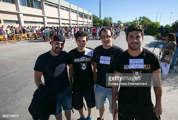 People attend the casting for 'Games Of Thrones' on September 16 2016 in Almodovar del Rio Spain