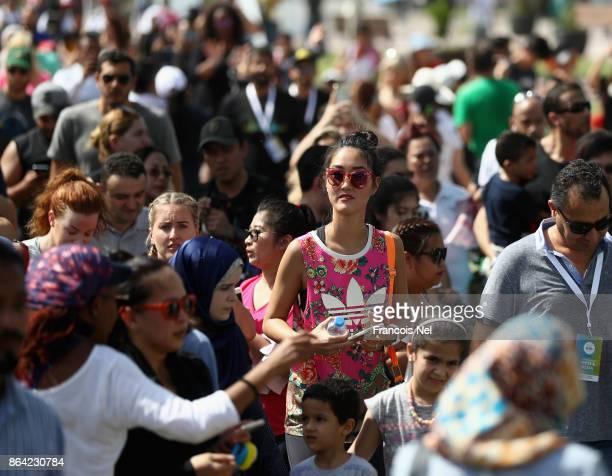 People attend the Dubai Fitness Challenge Opening Carnival at Safa Park on October 20 2017 in Dubai United Arab Emirates The inaugural Dubai Fitness...